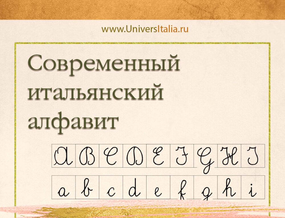 Современный итальянский алфавит